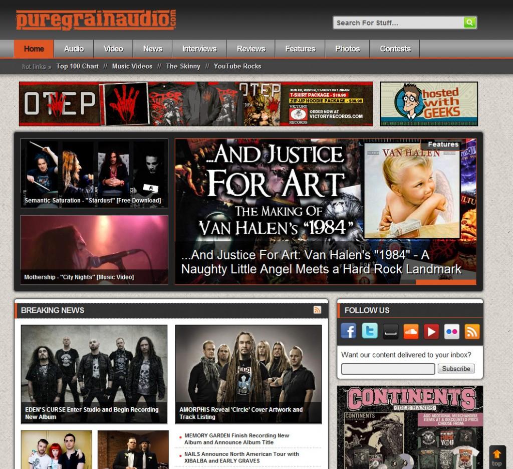 Semantic Saturation featured on PureGrainAudio.com homepage