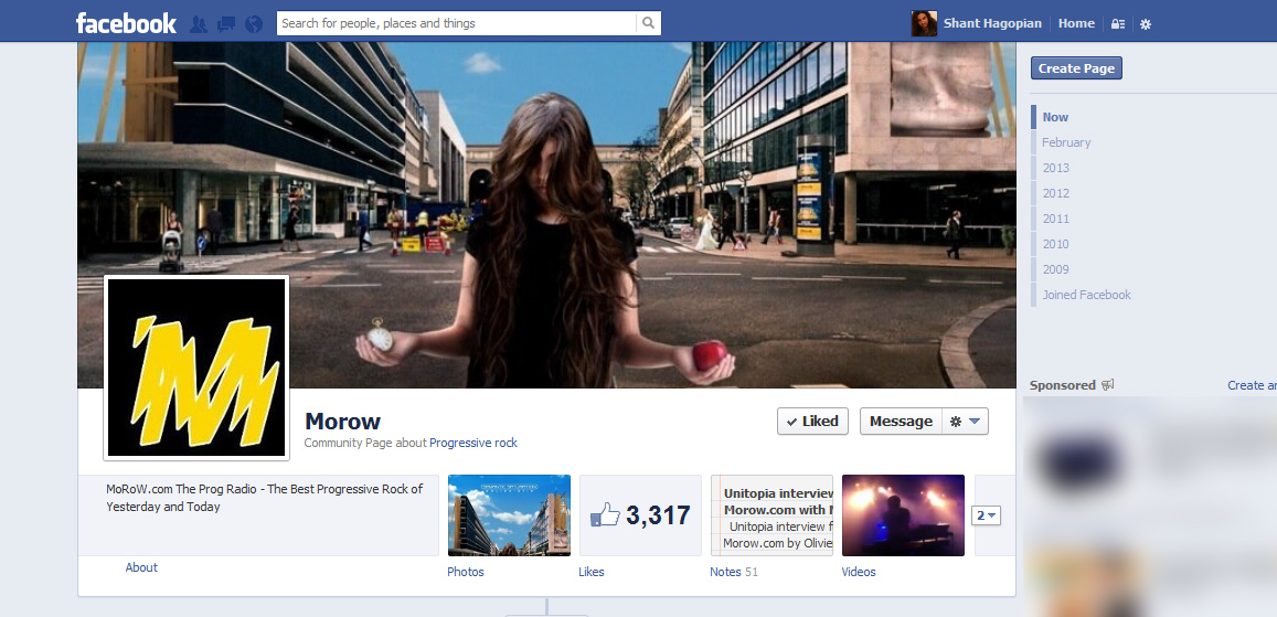 Morow.com Facebook page featuring Solipsistic cover as their Facebook cover photo