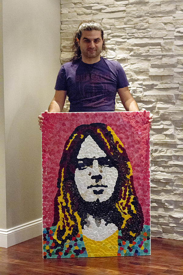 David Gilmour Plectrum Mosaic art by Shant Hagopian